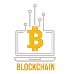 bitcoin and blockchain financial system laptop vector image