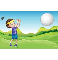 Boy playing golf vector