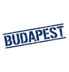 Budapest blue square stamp vector