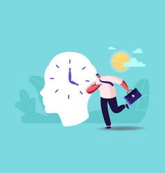 businessman character hurry at work oversleep due vector image