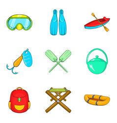 Campsite material icons set cartoon style vector