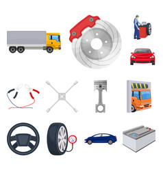 car lift pump and other equipment cartoon icons vector image