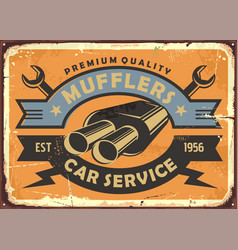 car service and auto parts retro metal sign vector image