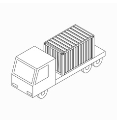 Cargo container on truck icon isometric 3d style vector image