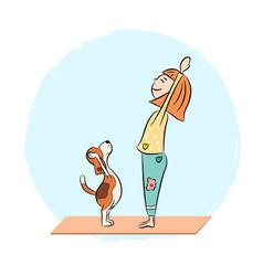 cartoon dog beagle with girl doing yoga vector image