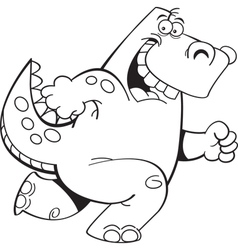 Cartoon Running Dinosaur vector image