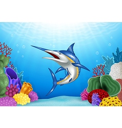 Cartoon Xiphias with Coral Reef Underwater vector image