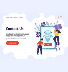 chatbot header template for website contact us vector image
