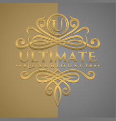 classic luxurious letter u logo with embossed vector image