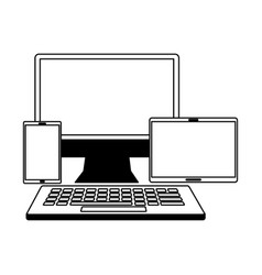 computer keyboard mobile and tablet vector image