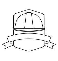 Construction helmet emblem with ribbon banner in vector