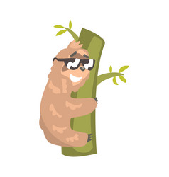 cute cartoon sloth character wearing sunglasses vector image