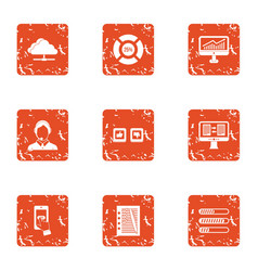 Data recovery icons set grunge style vector