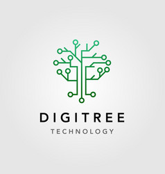 Digital tree technology electric circuit logo vector