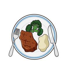 Dinner plate meal vector