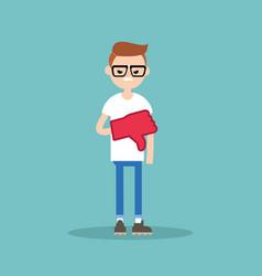 Dislike concept displeased nerd boy wearing foam vector