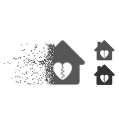 Divorce house heart moving pixel halftone icon vector