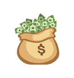 Dollar paper business finance money stack in bag vector
