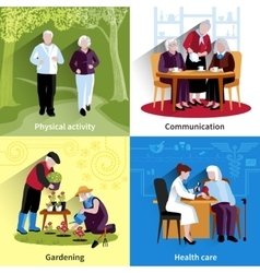 Elderly People Concept Icons Set vector