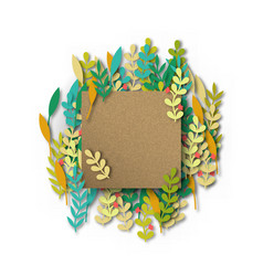 empty recycled paper card template with leaves vector image