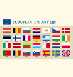 european union big set flags vector image
