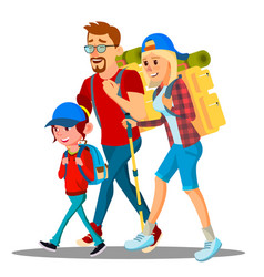 family go to camping with backpacks on their backs vector image