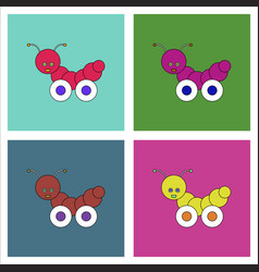 Flat icon design collection children toy vector