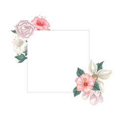 frame of hibiscus jasmine and tulips and roses vector image