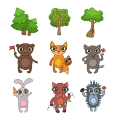 Friendly Forest Animals Set vector