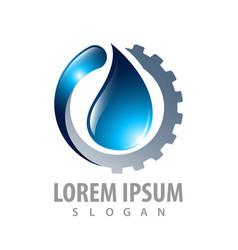 Gear drop oil logo concept design symbol graphic vector
