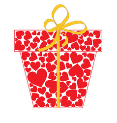 gift box with bow made of red hearts isolated on vector image
