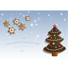 Ginger chocolate tree on snow background vector