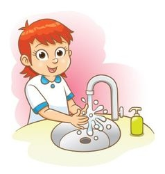 Girl washing her hands vector