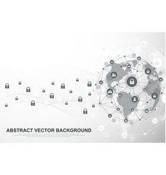 global network connection background cyber vector image