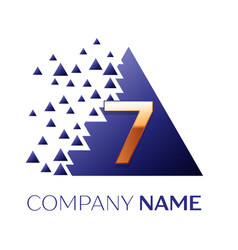 golden number seven logo in blue pixel triangle vector image