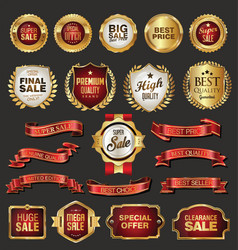 Golden retro sale badges and labels collection vector