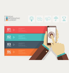 Hand touch in phone with icon infographic template vector