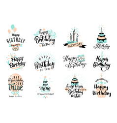 Happy birthday badge set vector