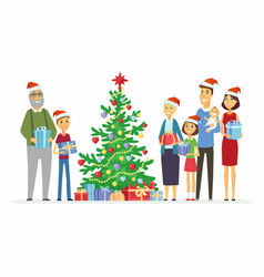 Happy family celebrates christmas - cartoon people vector