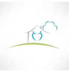 happy home icon vector image