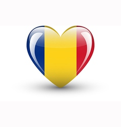 Heart-shaped icon with national flag romania vector