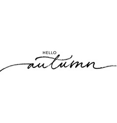 hello autumn lettering text brush lettering vector image