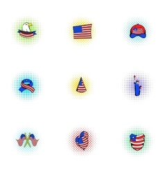 Holiday of USA icons set pop-art style vector image