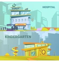 Hospital And Kindergarten Building Retro Cartoon vector