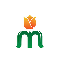 Initial letter m with orange flower and green vector