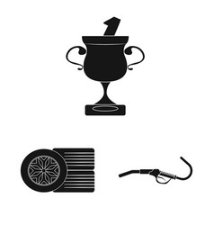 isolated object of car and rally icon set of car vector image