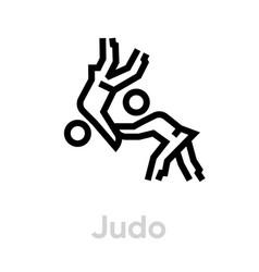 Judo sport icons vector