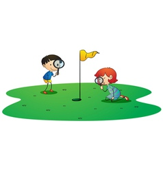 Kids on golf ground vector