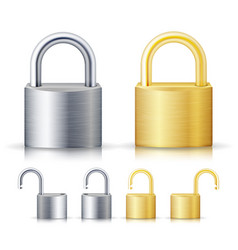 Locked and unlocked padlock realistic set vector