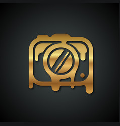 Logo of the golden camera that melts against a vector